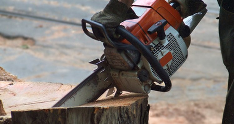Stihl chainsaws are recognisable by their orange and grey colour scheme.