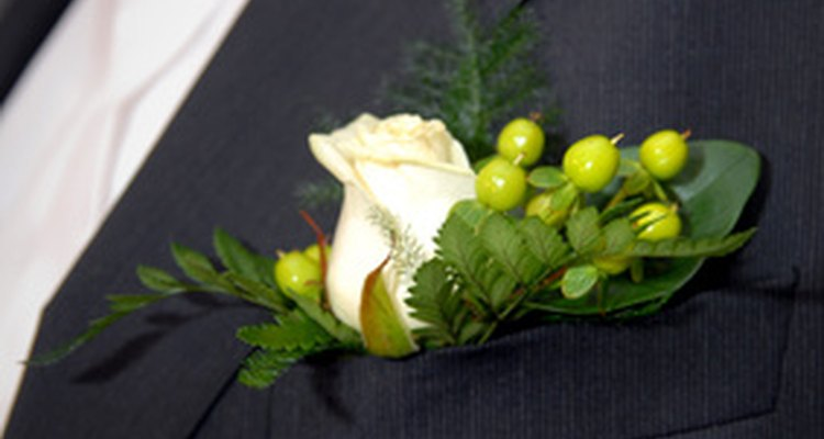 A boutonnière is worn by a man.