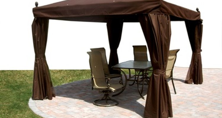 Patio designs can include rich fabrics for a comfortable look.