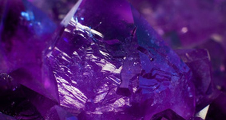 Amethysts are quartz crystals coloured with iron impurities.