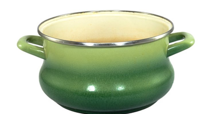 When enamel cookware begins to chip, it is best to retire it to decorating your kitchen and purchase a new one.