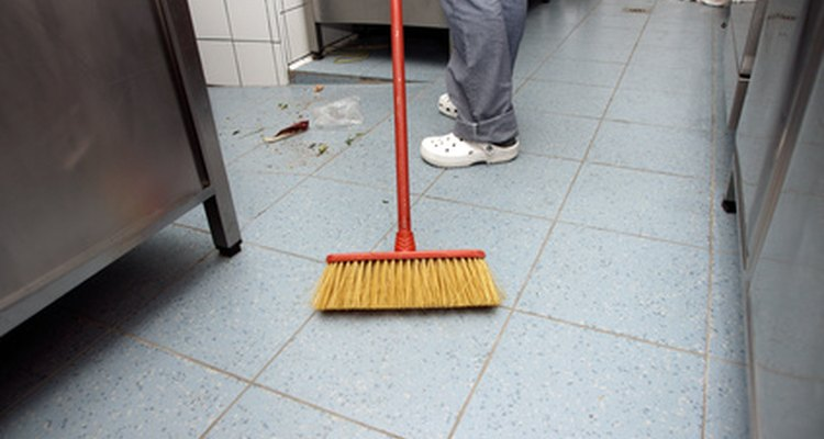 Linoleum floors are susceptible to rust stains in kitchens and bathrooms.