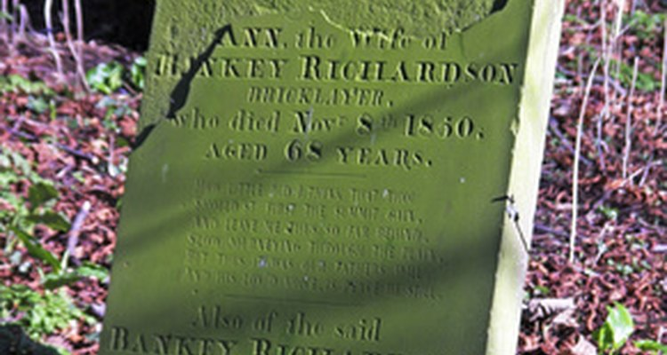 Over time, a headstone can fade, making it difficult to read.