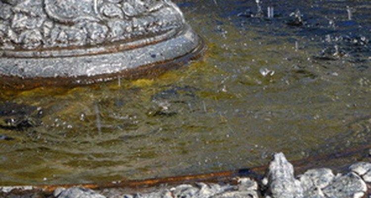 Restaura fuentes de cemento decorativas con varias capas de pintura de exterior al látex.