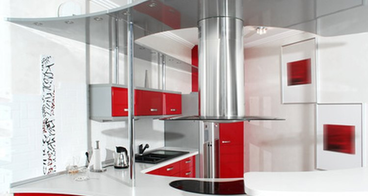 Red and white create cheery moods in kitchens.