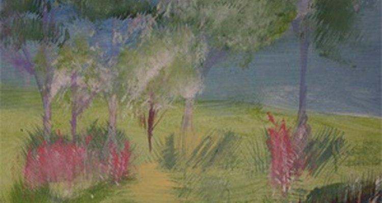 A tinta acrílica, como a da imagem, pode ser usada no papel contact para criar cenários vibrantes