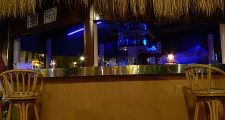 A thatched roof identifies a tiki bar.