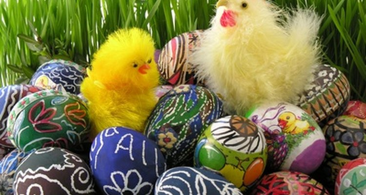 Painted eggs can be simple or very ornate.