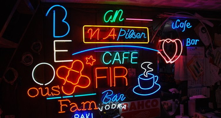 Neon storefront signs are marketing communication tools.