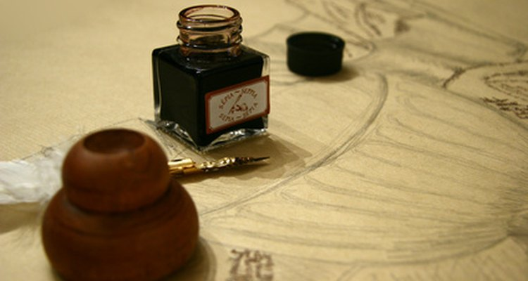 Refill a Mont Blanc reservoir with ink from a bottle.