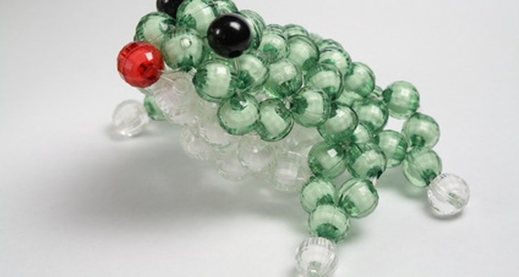 3-D animals are created by stinging beads onto bent wire.
