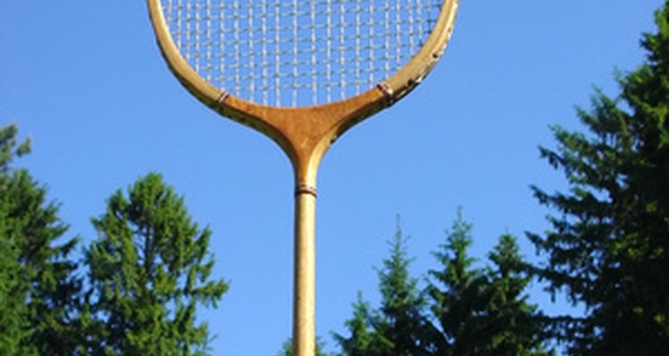 Traditional wooden-framed badminton racket