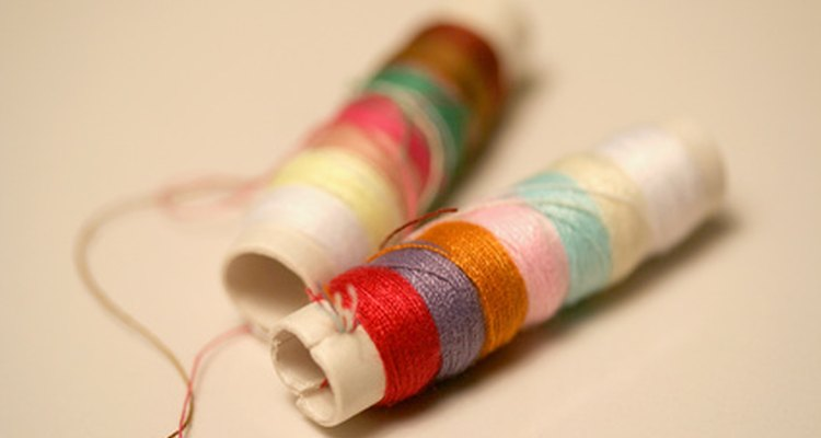 Swedish weaving uses coloured threads and fabrics to create knotted handicrafts.