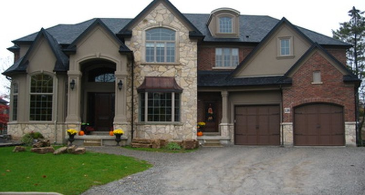 An integral garage is incorporated in the home's structure.