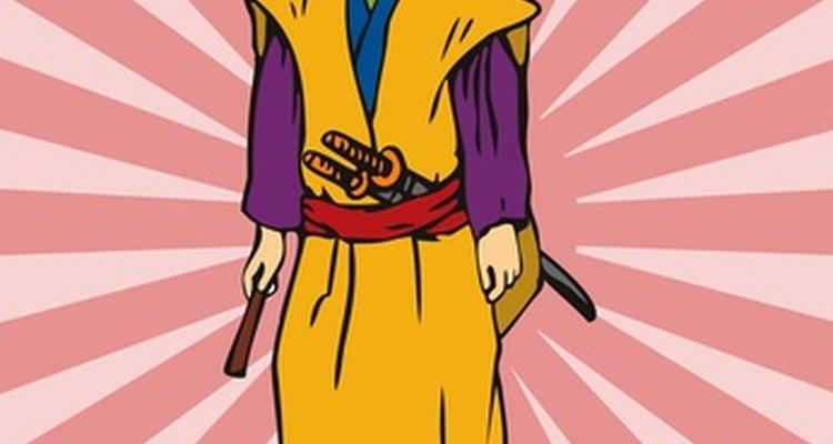 Os samurais usavam kimono, hakama, obi, kataginu e waraji