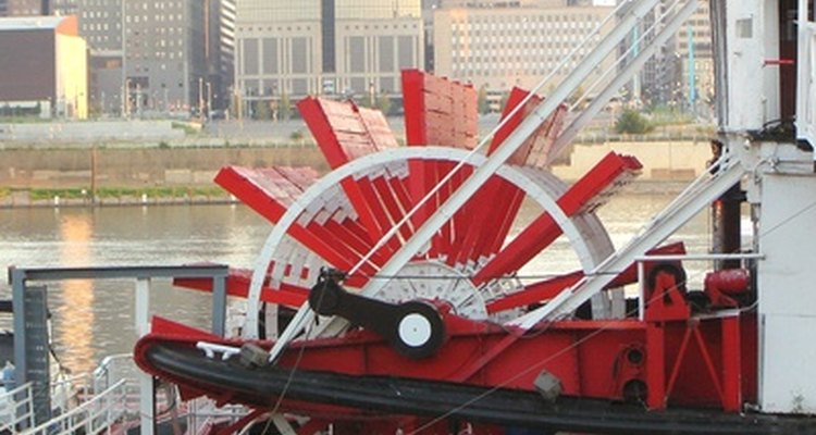 Steam engines and paddle wheels had their start and made their fame on rivers.