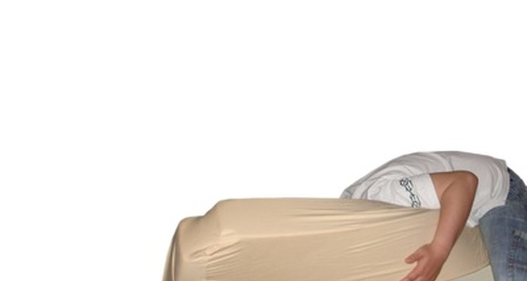 A foam mattress can become discoloured over time.