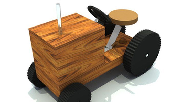 Small pieces of wood, steel and rubber glued into a toy.
