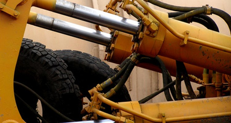 Construction vehicle hydraulic rams.