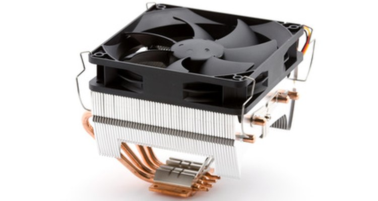 CPU fans circulate cool air over a warm processor.