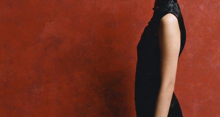 Studio Portrait of a Woman Wearing a Black Mini Dress