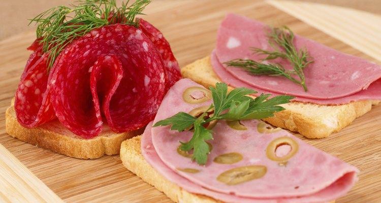 Sandwiches with salami and mortadella