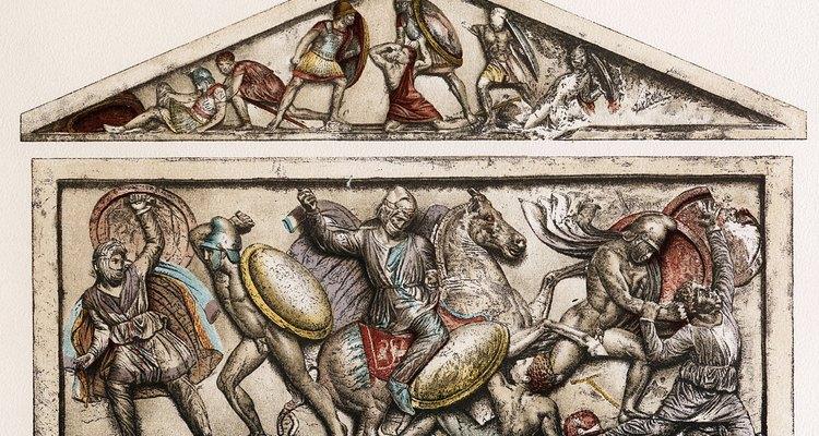 Juntos, las lanzas y los escudos permitieron a los hoplitas armados pararse uno al lado del otro en formación falange.
