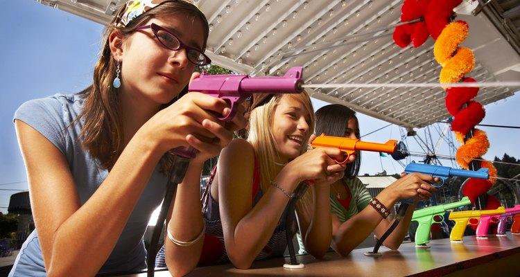 teens at amusement park