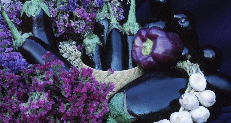 Flowers, eggplant, and garlic