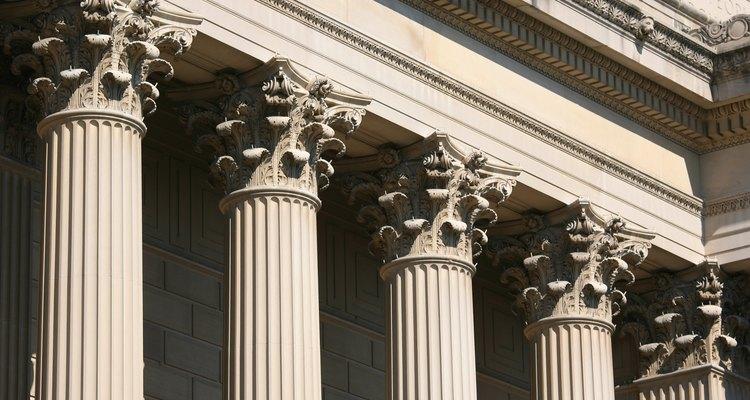 O capitel de colunas coríntias no National Archive em Washington, DC