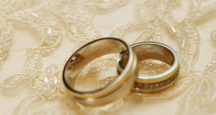 Wedding rings on ruche textile