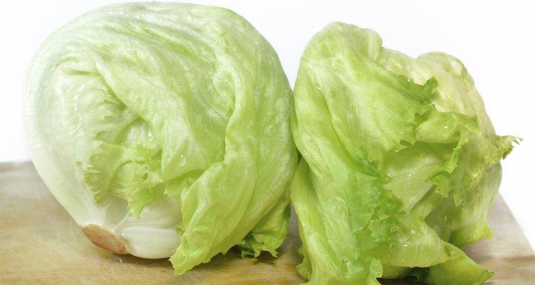 iceberg lettuce on wooden