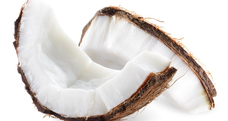 Coconut pieces isolated on a white background