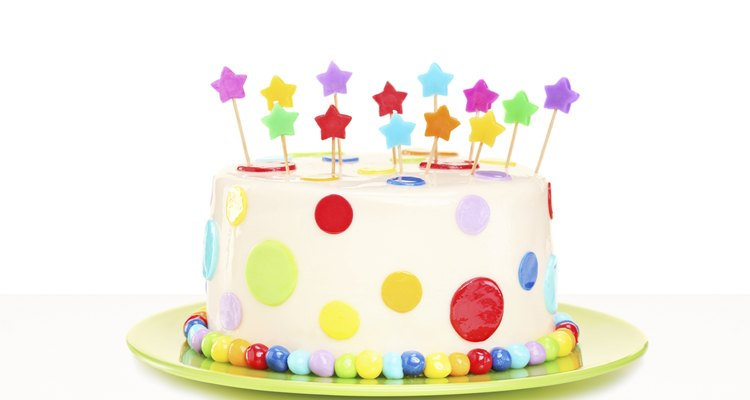 Colorful delicious cake with stars decorations