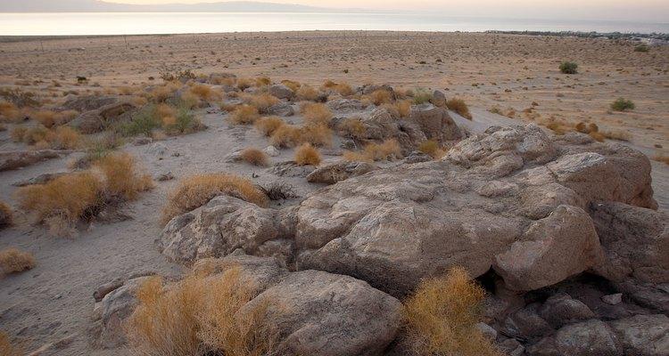 Los cantos rodados en Salton City, California muestran depósitos de toba.