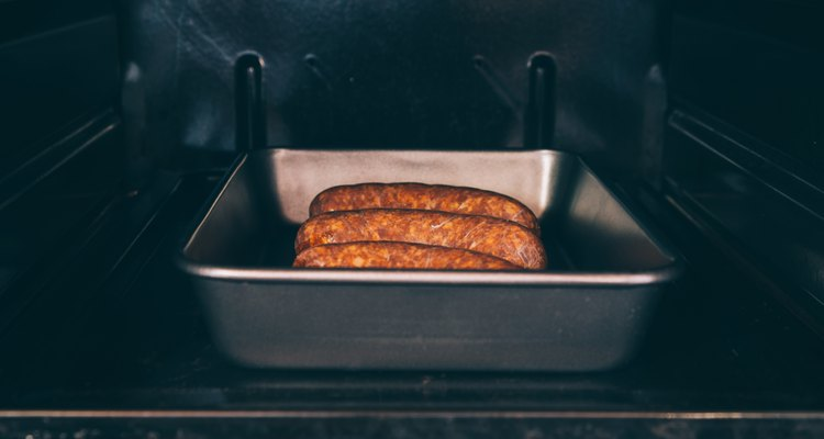 Smoked sausages frying oven