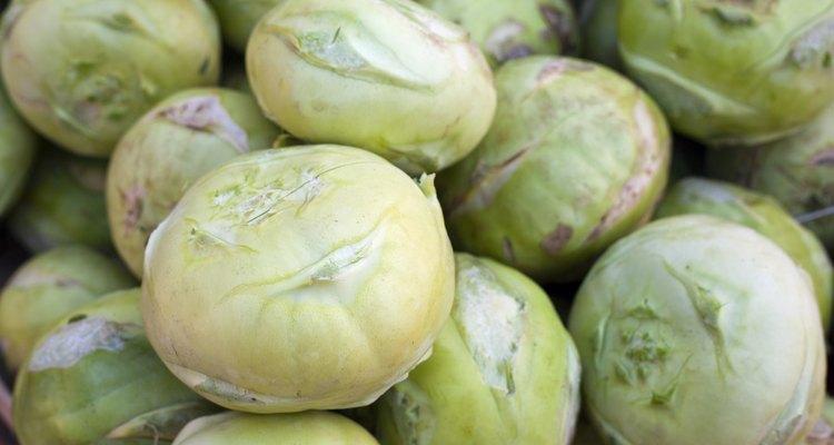 Fresh kohlrabi on a market