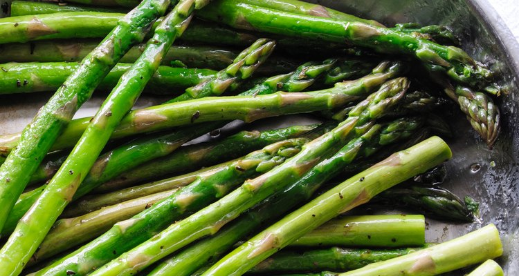 Detail of Organic Asparagus in a Frying Pan