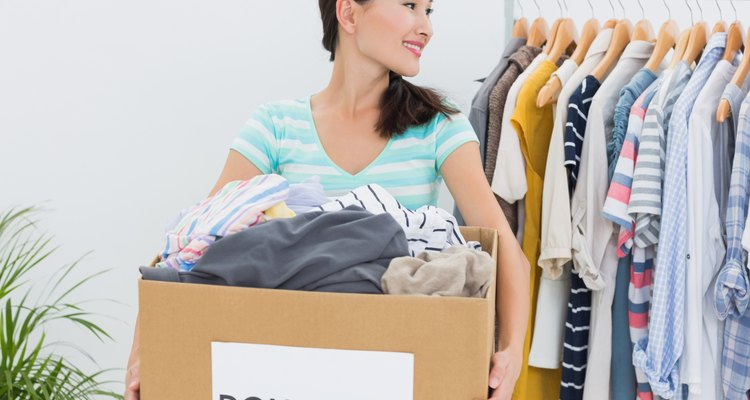 Woman with clothes donation