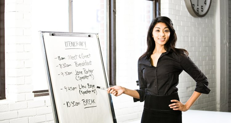 Businesswoman presenting itinerary on easel