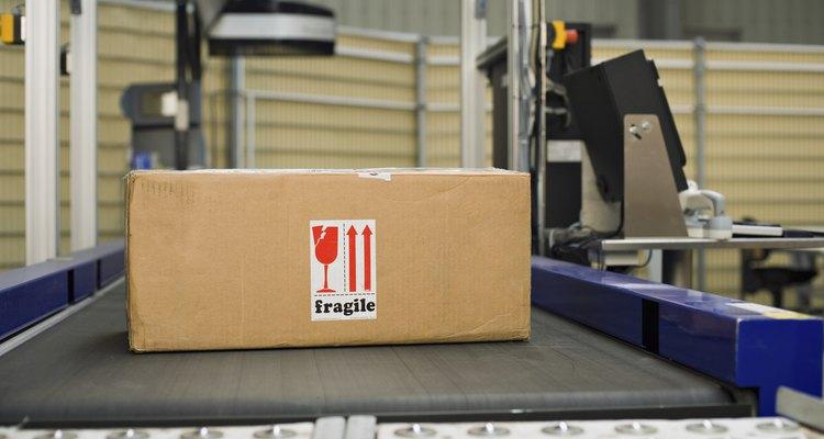 Box on conveyor belt