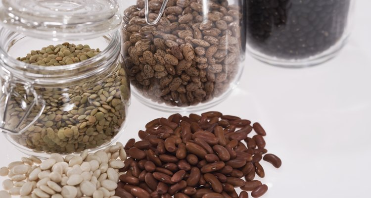 Beans and seeds in jars