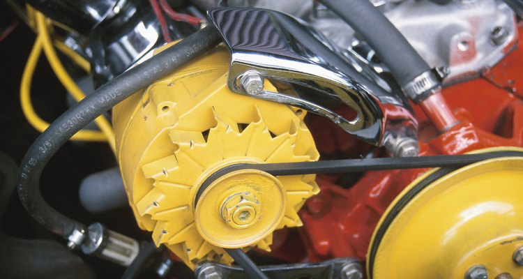 V-belts power engine components, such as alternators.