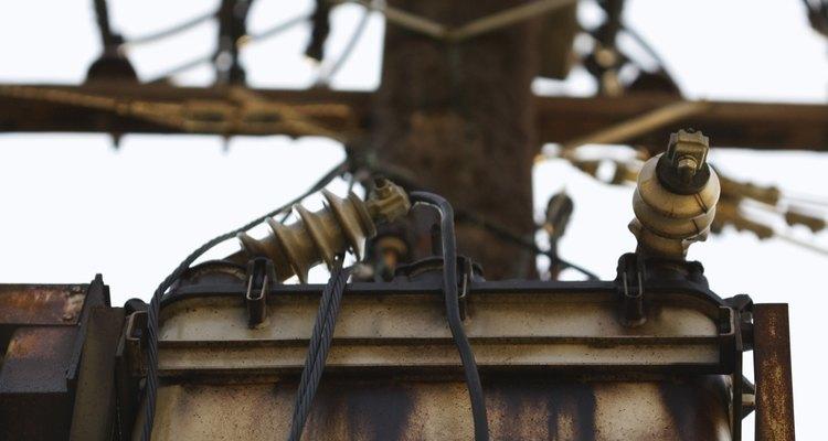 A transformer on a telegraph pole.