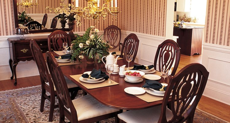 Formal area rugs are appropriate for formal dining rooms.