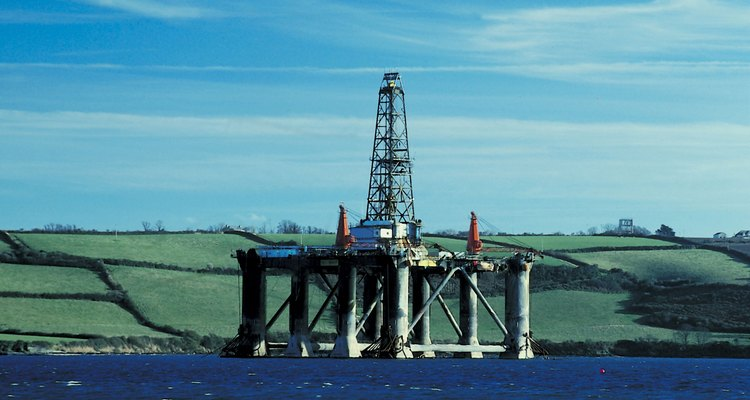 Oil rigs are found in offshore oilfields.