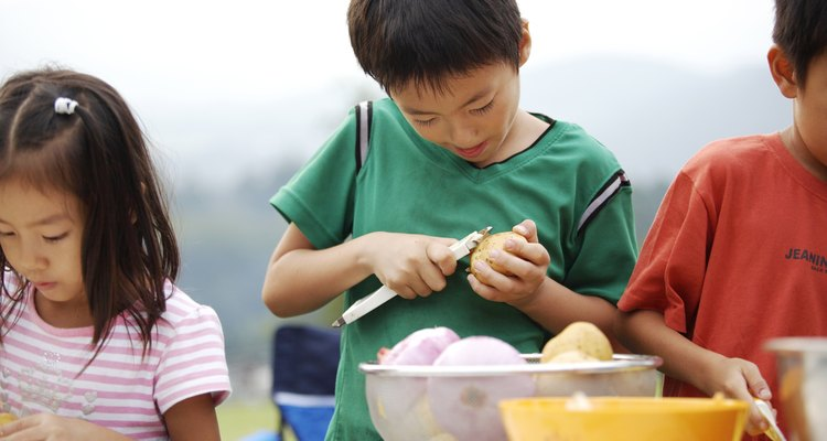 Children can cut the potatoes with adult supervision.