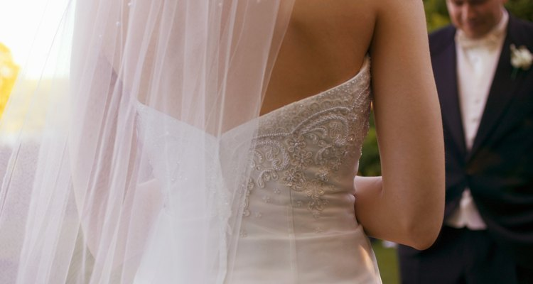 Back view of a bride