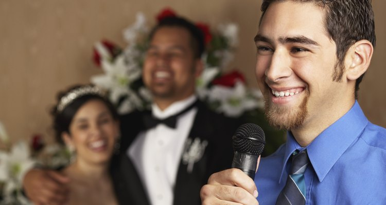 Man speaking at a wedding reception