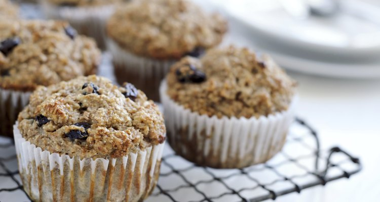 Healthy bran muffins on cooling tray